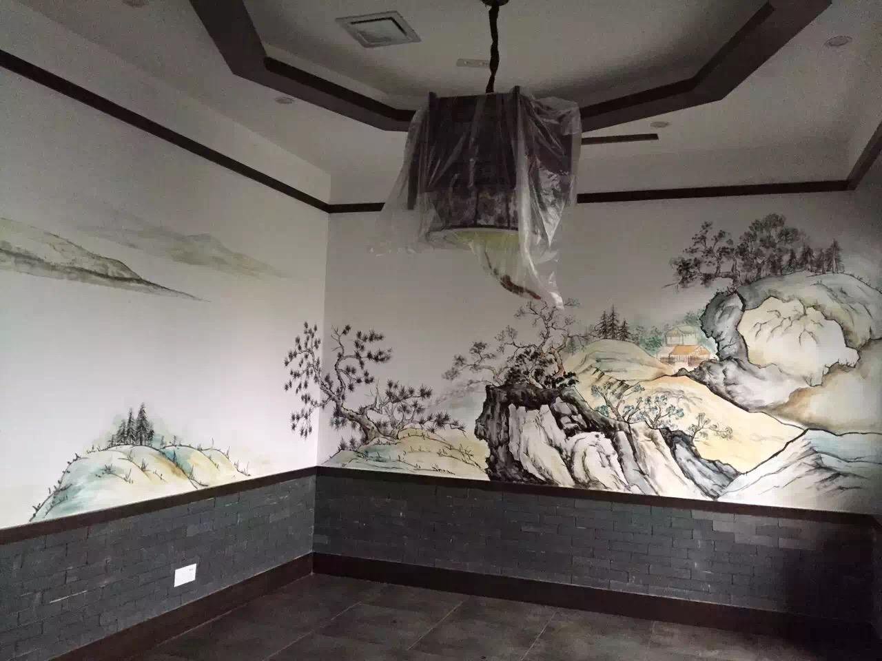 餐厅们门上创意手绘