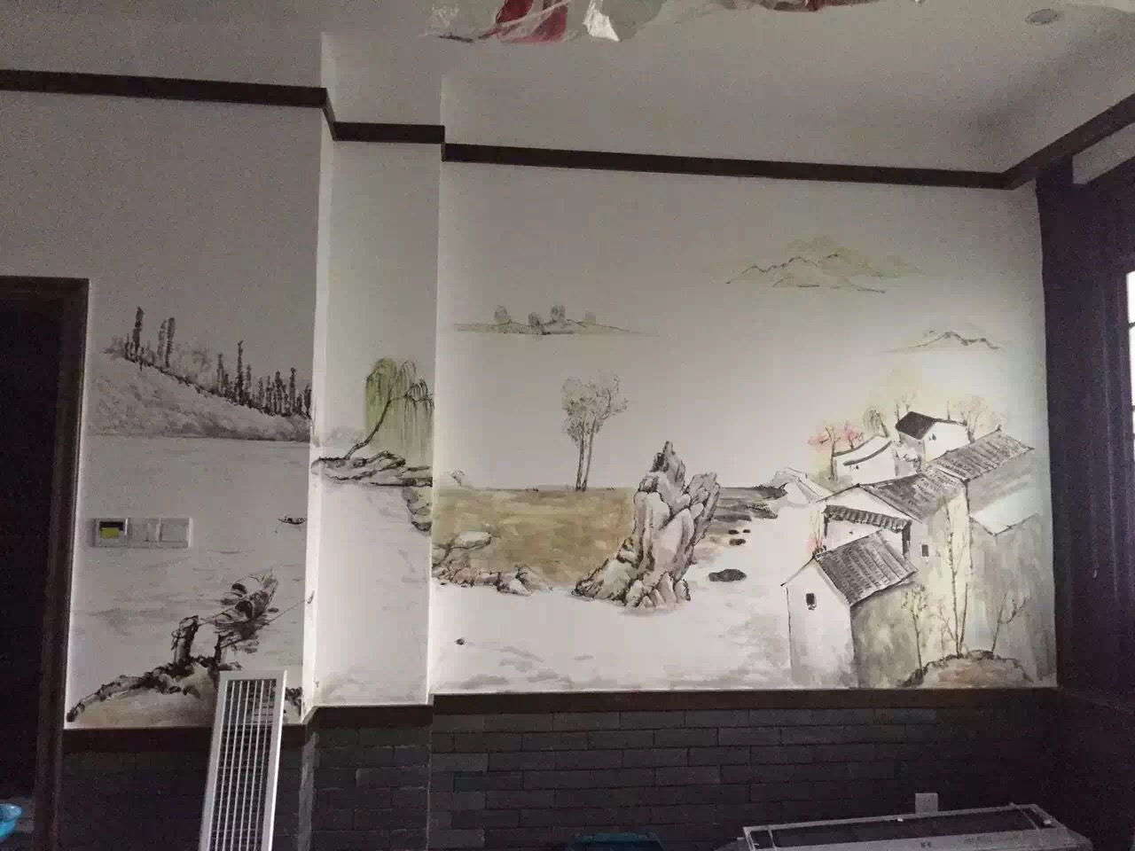 一些飯店常用手繪壁畫作品欣賞!